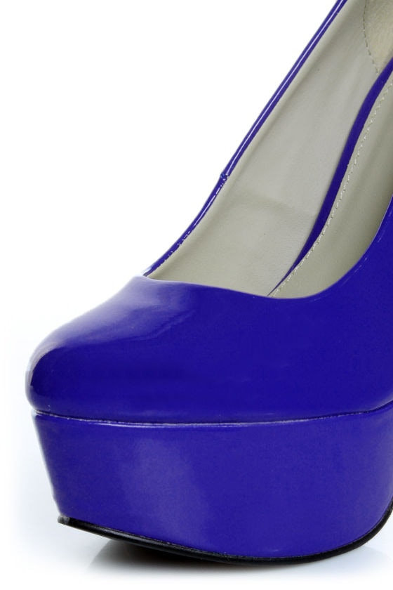 Qupid Penelope 01 Royal Blue Patent Platform Pumps at Lulus.com!