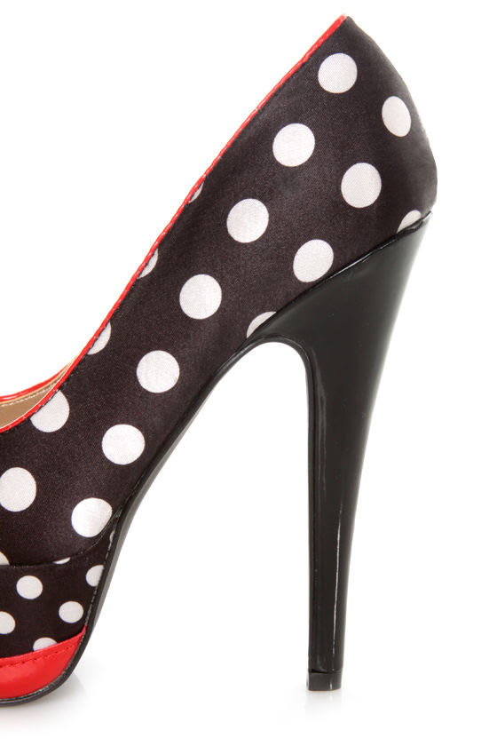 Qupid Penelope 51 Black/White Fabric Polka Dot Platform Pumps