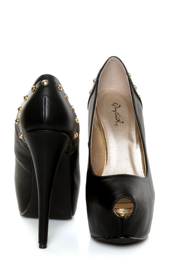 Qupid Penelope 58 Black Studded Platform Pumps