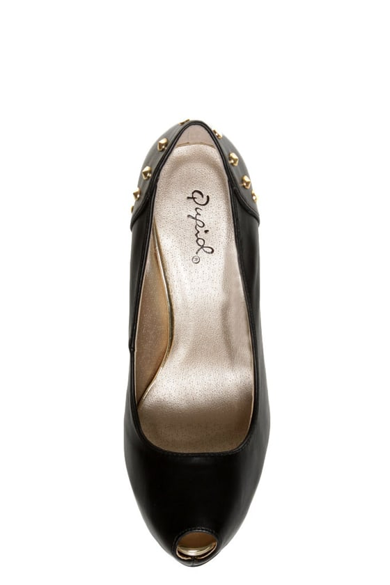 Qupid Penelope 58 Black Studded Platform Pumps at Lulus.com!