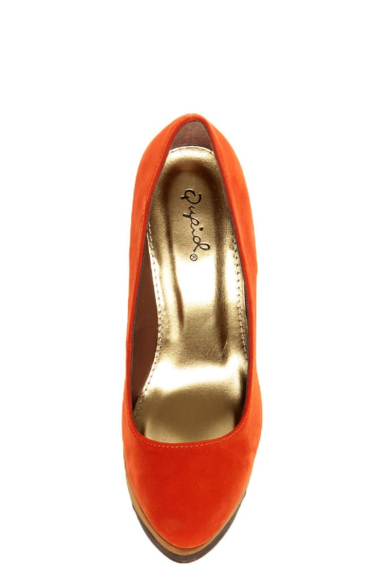 Qupid Penelope 62 Orange Color Block Platform Pumps