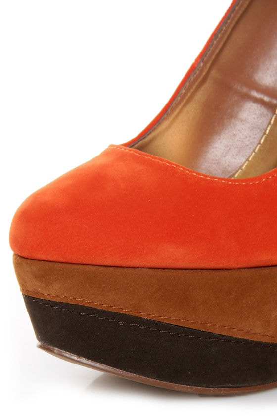Qupid Penelope 62 Orange Color Block Platform Pumps at Lulus.com!