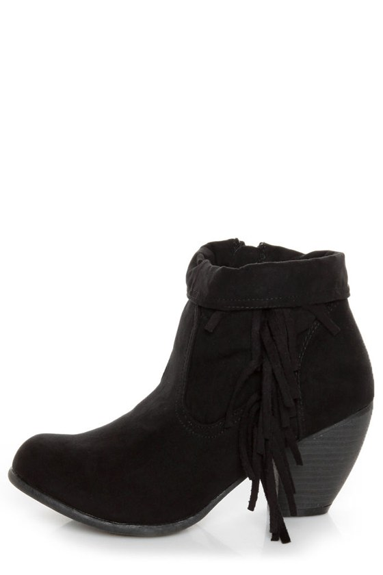 Qupid Priority 21 Black Suede Fringe Ankle Boots