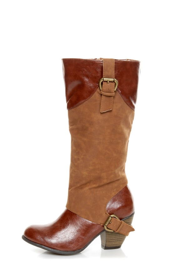 Qupid Priority 35 Camel Two-Tone Cowboy Boots at Lulus.com!