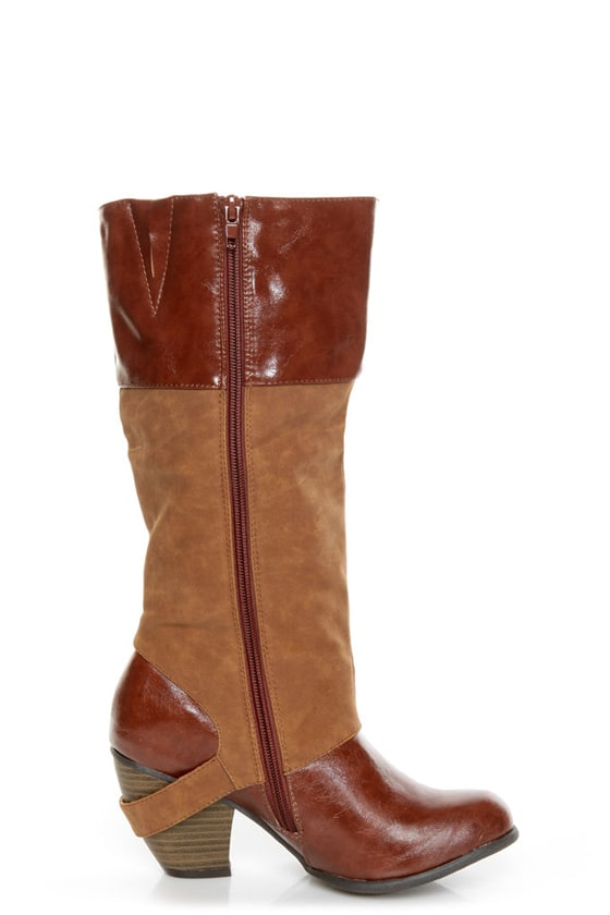 Qupid Priority 35 Camel Two-Tone Cowboy Boots