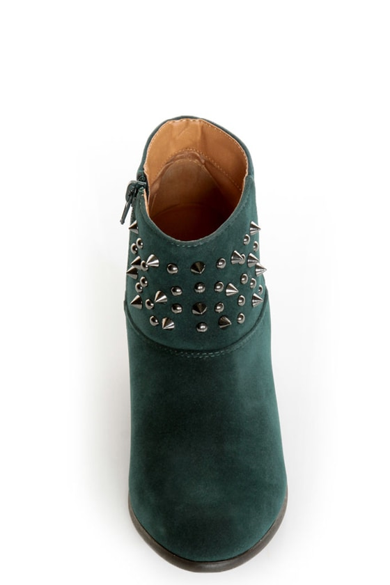 Qupid Priority 46 Green Velvet Spiked and Studded Ankle Boots at Lulus.com!