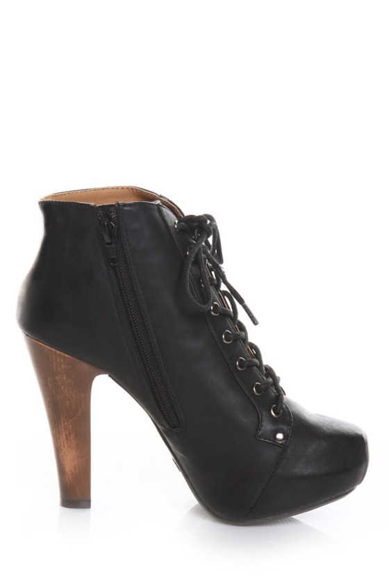 Qupid Puffin 06 Black Lace-Up Booties