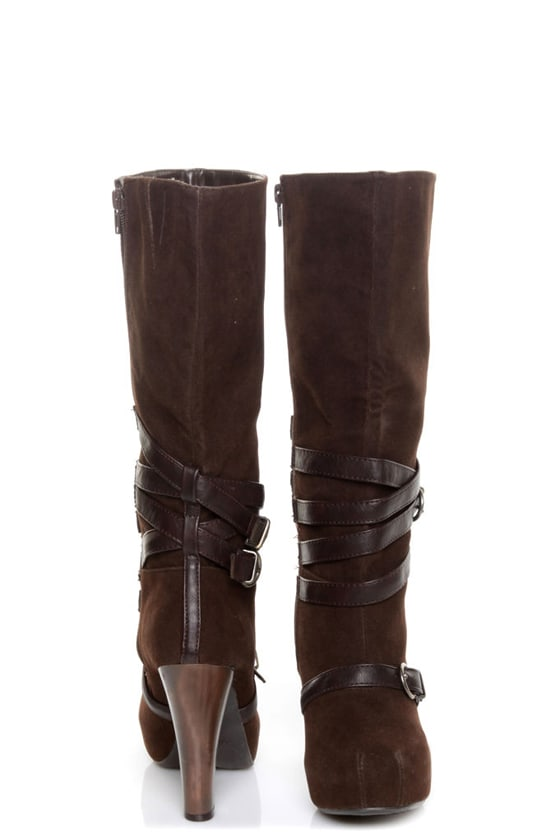 qupid puffin 15 brown suede belted knee high heel boots
