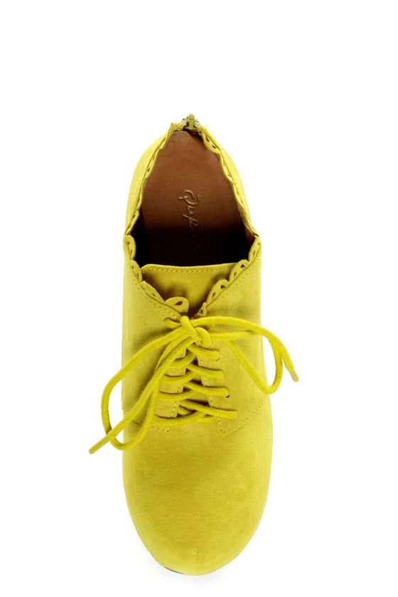 Qupid Puffin 34 Yellow Suede Lace Up Ankle Booties 42 00