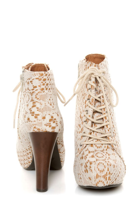 Qupid Puffin 39 Ivory Fabric Lacy Lace-Up Booties