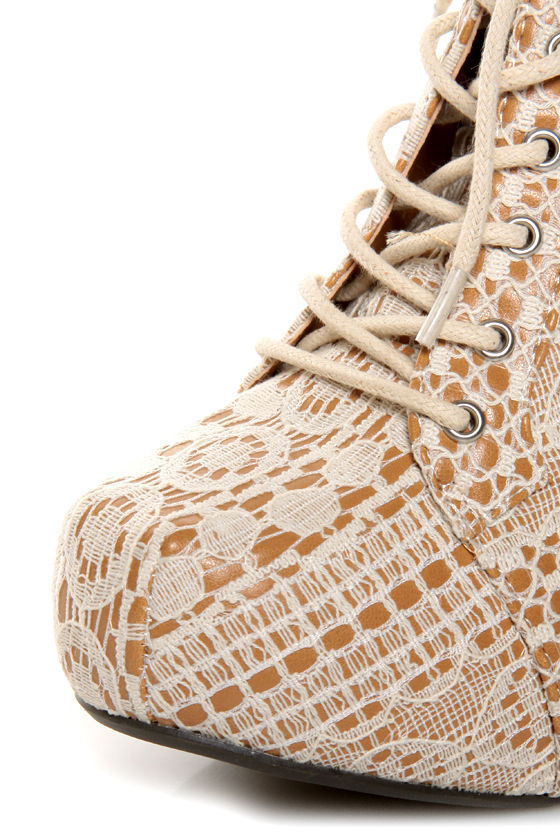 Qupid Puffin 39 Ivory Fabric Lacy Lace-Up Booties at Lulus.com!