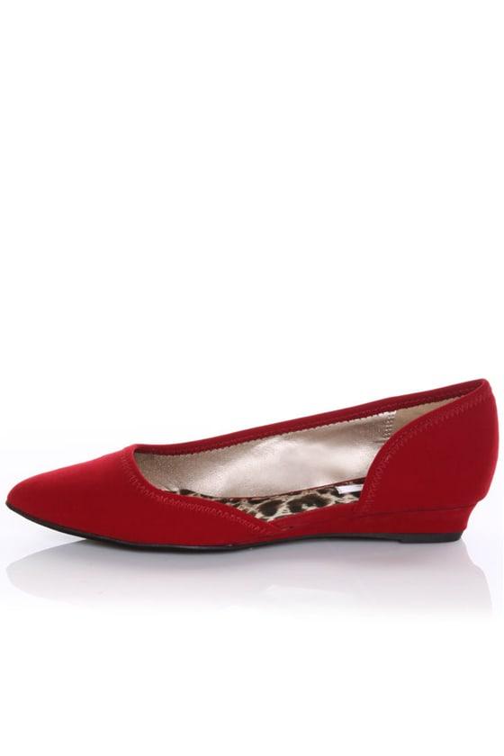 Qupid Ramsey 06 Red Velvet Pointy Toe D'Orsay Flats