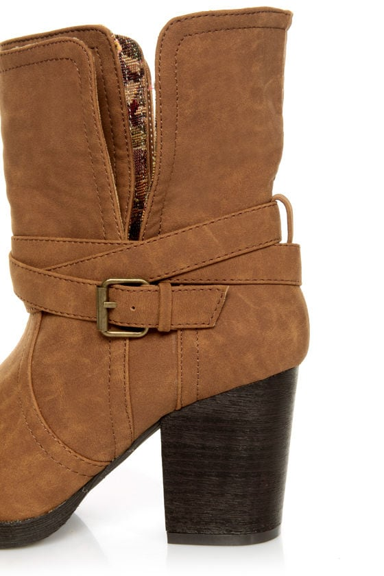 Qupid Rosdale 11 Camel Tapestry Convertible Boots at Lulus.com!