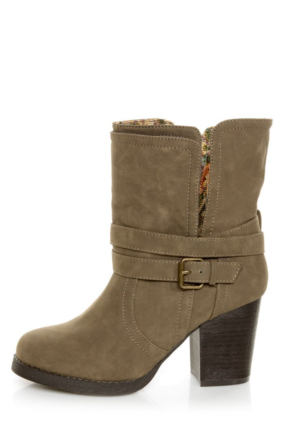 Qupid Rosdale 11 Dark Taupe Tapestry Convertible Boots