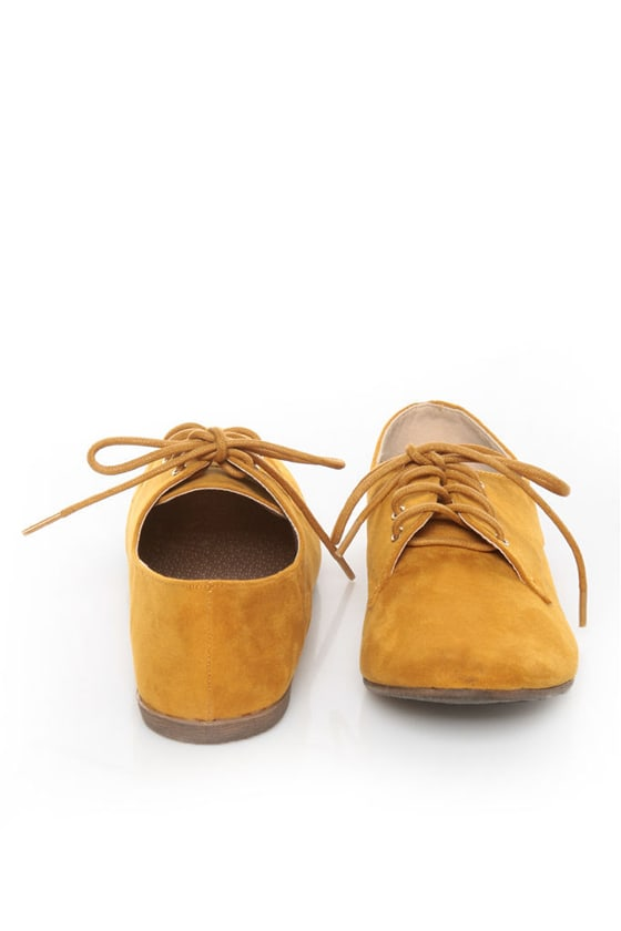 Qupid Salya 585 Mustard Yellow Suede Lace-Up Oxfords