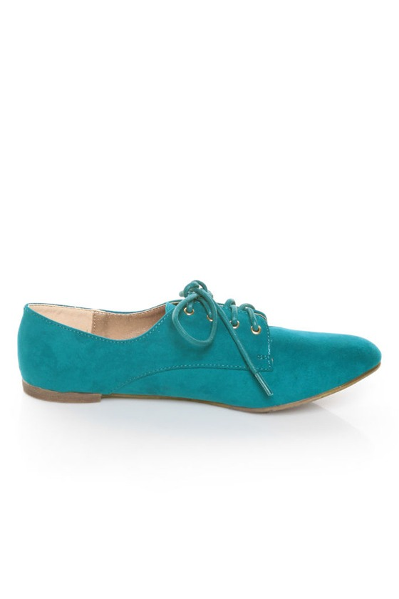 Qupid Salya 585 Teal Suede Lace-Up Oxfords
