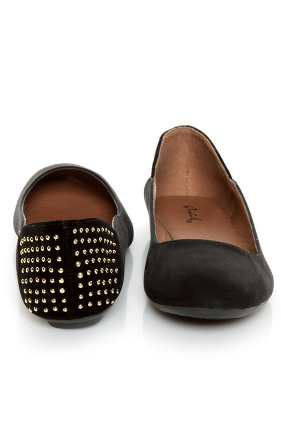 Qupid Savana 156 Black Suede Studded Ballet Flats at Lulus.com!