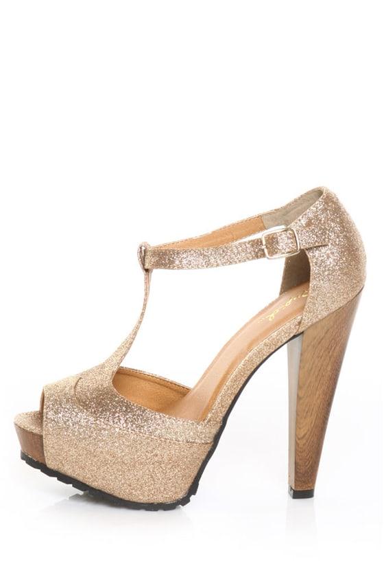 Qupid Saydie 25 Champagne Glitter Gold T Strap Platform Heels
