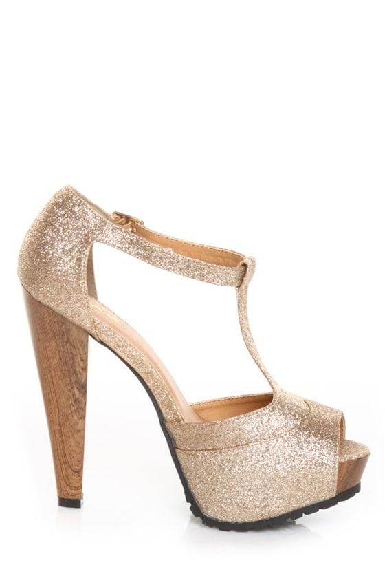 Qupid Saydie 25 Champagne Glitter Gold T Strap Platform Heels - $35.00