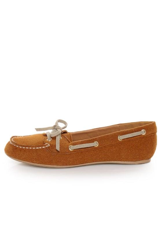 Qupid Serina 720 Rust Suede Moccasin-Meets-Boat Shoe Flats