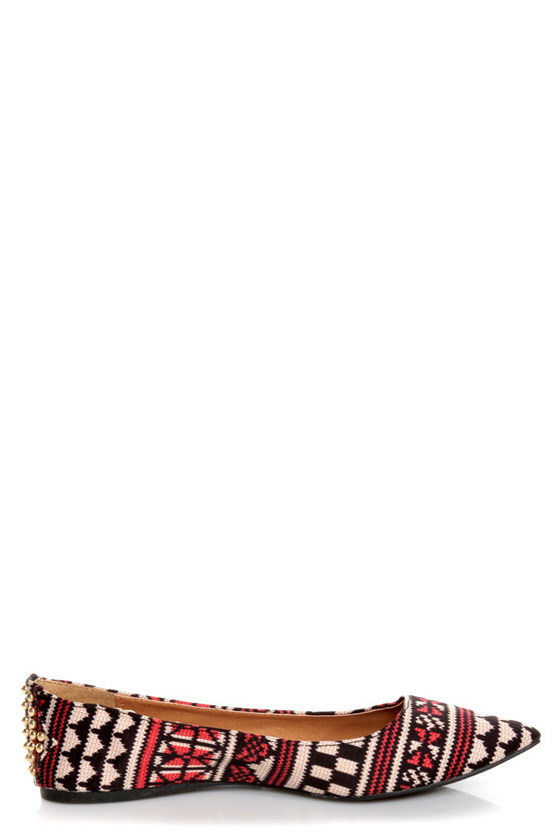 Qupid Site 01 Black and Beige Fabric Print Pointed Flats