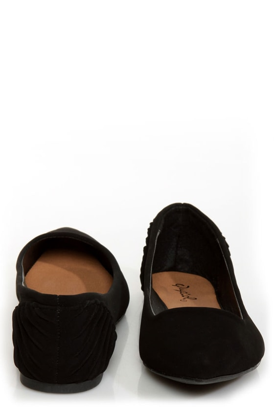Qupid Site 05 Black Ruched Heel Pointed Flats