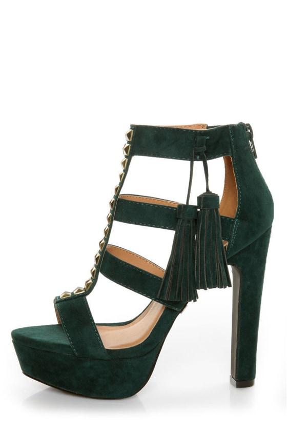 Qupid Luxe Spirite Green Velvet Studded Tassel Heels