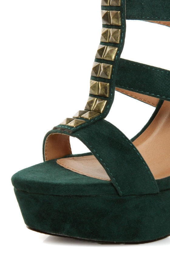 Qupid Luxe Spirite Green Velvet Studded Tassel Heels at Lulus.com!