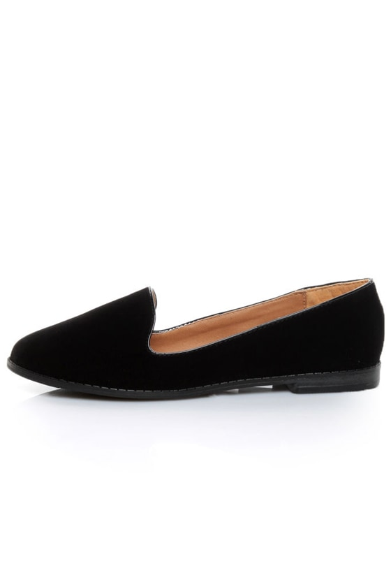 Qupid Strip 27 Black Velvet Loafer Flats