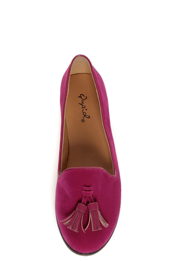 Qupid Strip 40 Berry Velvet Tassel Smoking Slipper Flats