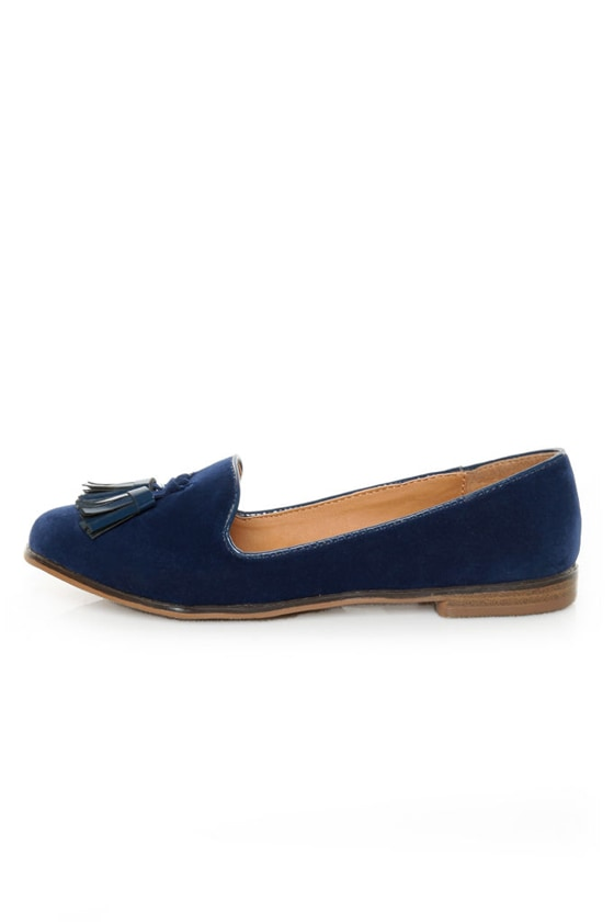 Qupid Strip 40 Blue Velvet Tassel Smoking Slipper Flats