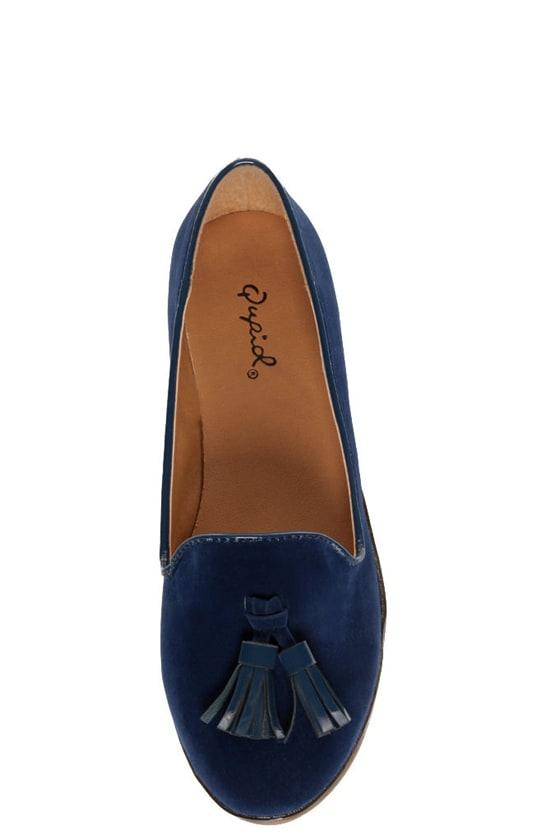 Qupid Strip 40 Blue Velvet Tassel Smoking Slipper Flats