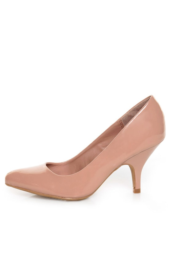Qupid Tanya 01 Blush Patent Kitten Pumps
