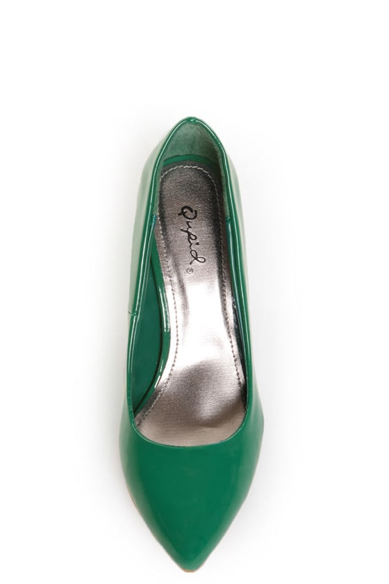 Qupid Tanya 01 Green Patent Kitten Pumps