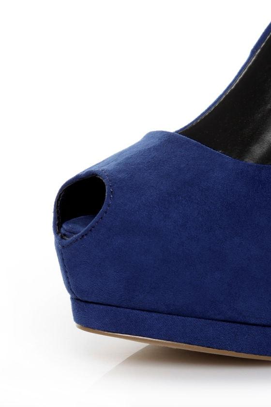 Qupid Tatum 01 Cobalt Blue Suede Keyhole Peep Toe Platform Pumps