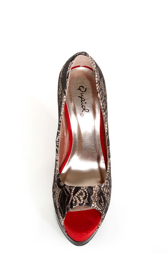 Qupid Tatum 47 Blush Satin and Lace Platform Pumps at Lulus.com!