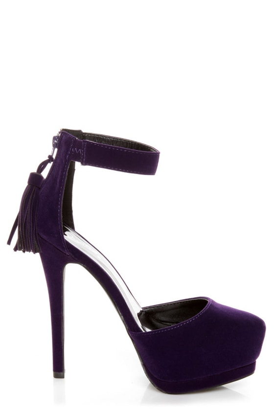 Qupid Tatum 55 Purple Velvet Tassel Pointed Platform Heels at Lulus.com!