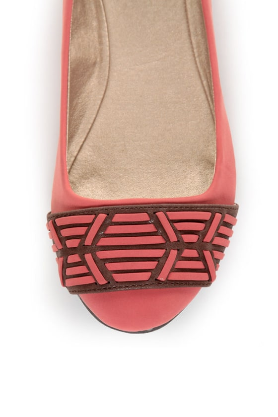 Qupid Thesis 193 Coral Nubuck Two Tone Toe Band Ballet Flats