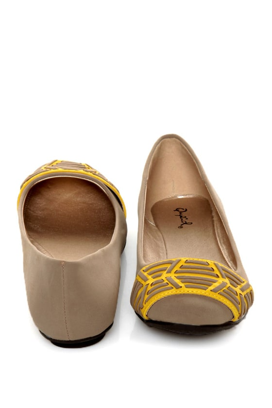 Qupid Thesis 193 Taupe Nubuck Two Tone Toe Band Ballet Flats