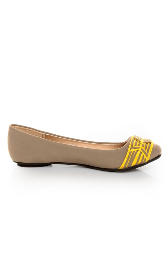 Qupid Thesis 193 Taupe Nubuck Two Tone Toe Band Ballet Flats at Lulus.com!