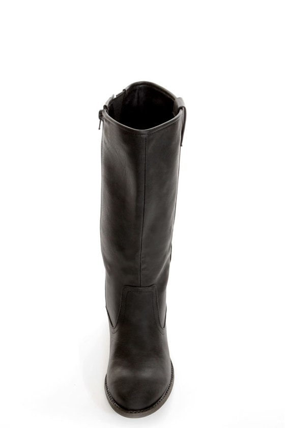 Qupid Trevor 02 Black Classic Knee High Riding Boots