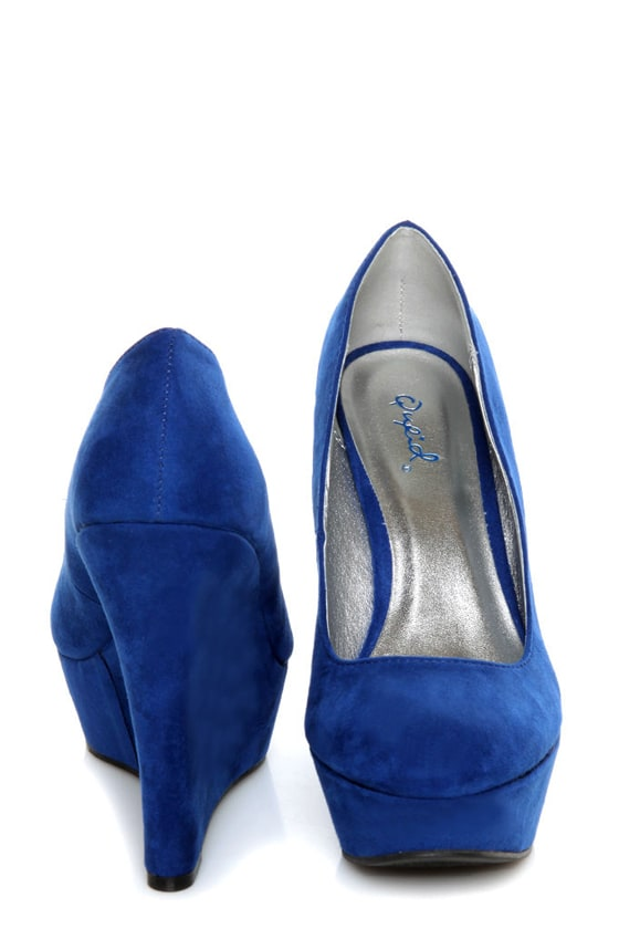 Qupid Worthy 01X Cobalt Blue Suede Platform Wedges