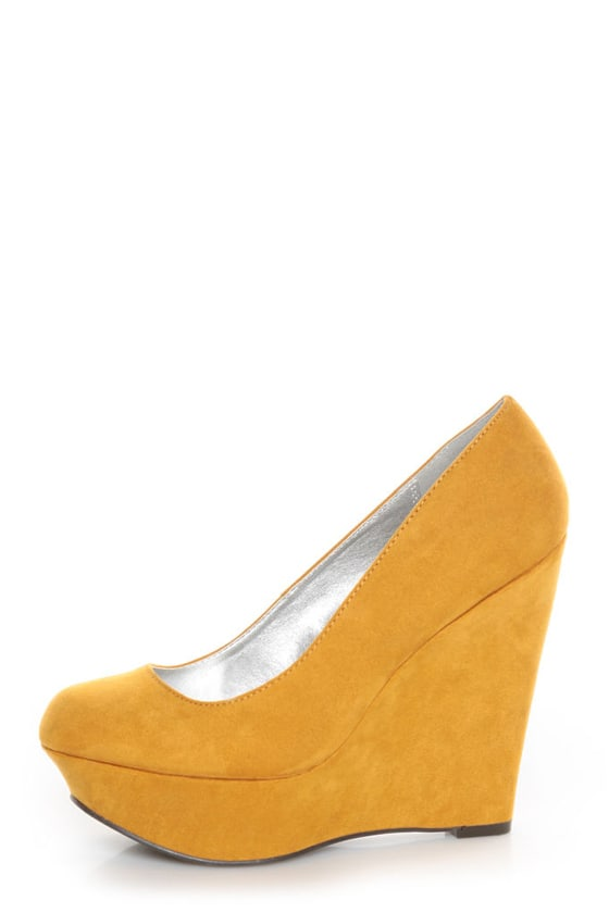 724b22253d9 Qupid Worthy 01X Mustard Yellow Suede Platform Wedges - $32.00