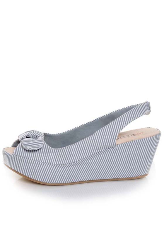 unRestricted Anchor Blue Striped Fabric Platform Wedges