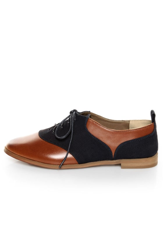 Restricted Betsy Whiskey and Navy Blue Saddle Shoe Oxfords at Lulus.com!