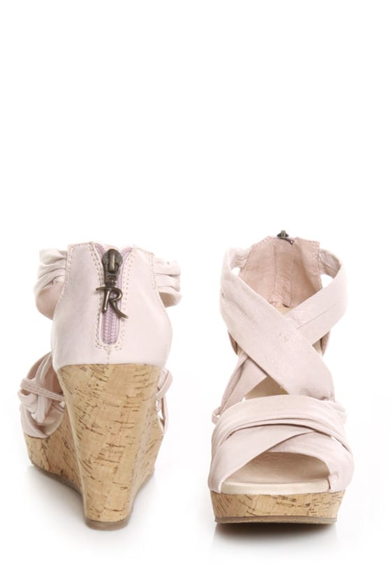 restricted cookie blush pink leather cork wedge sandals