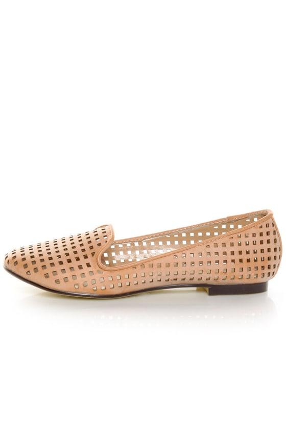 Restricted Gloria Blush Laser Cut Smoking Slipper Flats