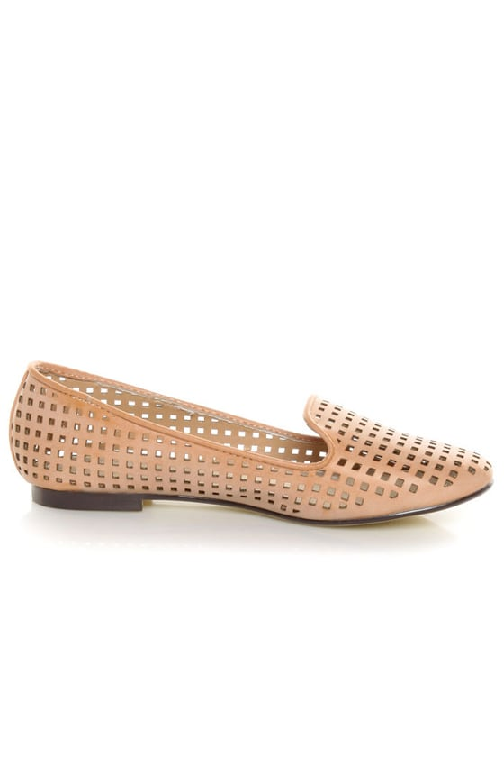 Restricted Gloria Blush Laser Cut Smoking Slipper Flats at Lulus.com!