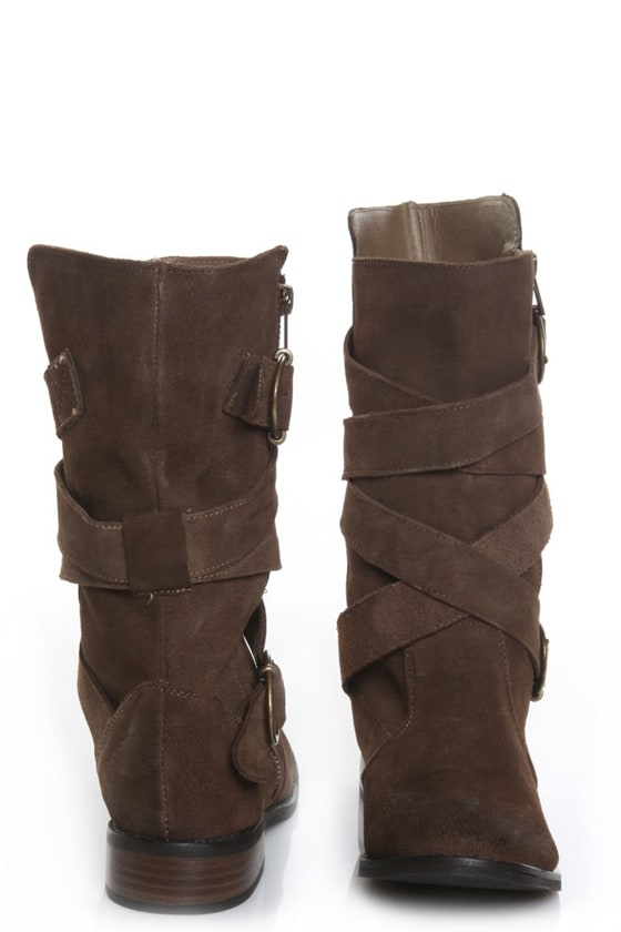 Restricted Harley Taupe Brown Suede Belted Boots