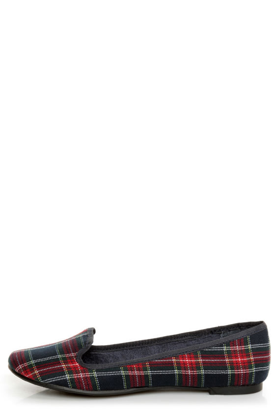Rocket Dog Morrison Navy Mini Tart Plaid Smoking Slipper Flats